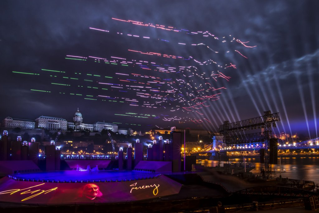 CollMot drones flying in bird shape at the opening of the 17th FINA World Championships in Budapest